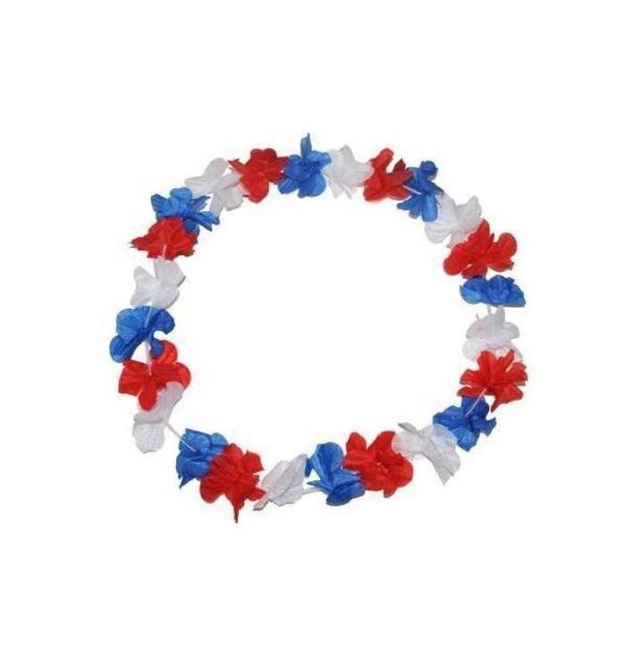 Collier à fleurs bleu-blanc-rouge