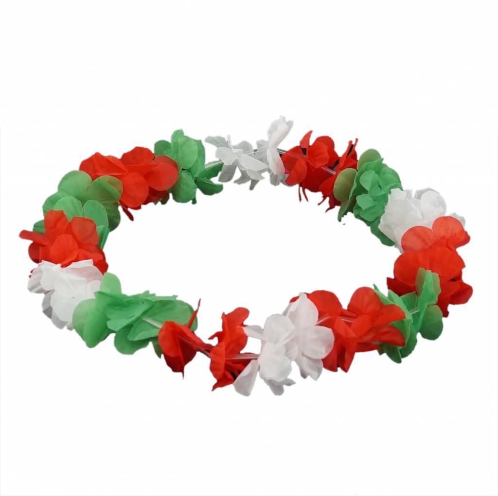 Bloemenkrans groen-wit-rood