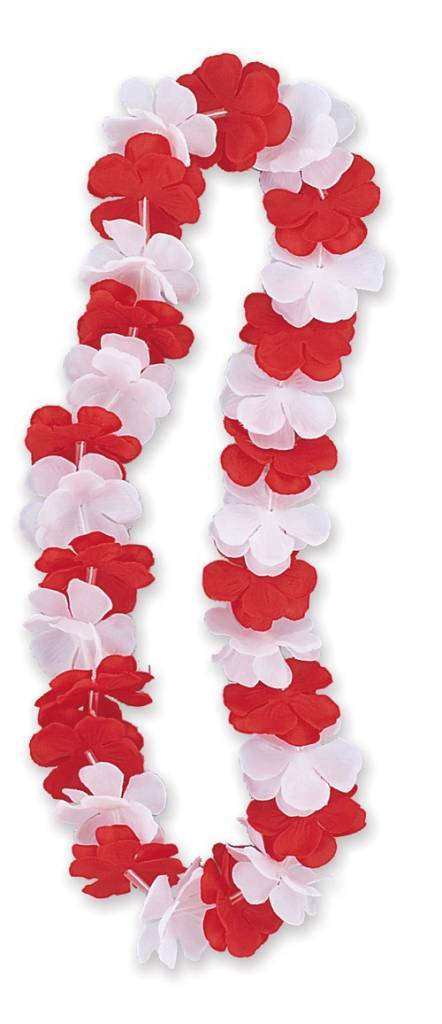 Collier à fleurs rouge-blanc