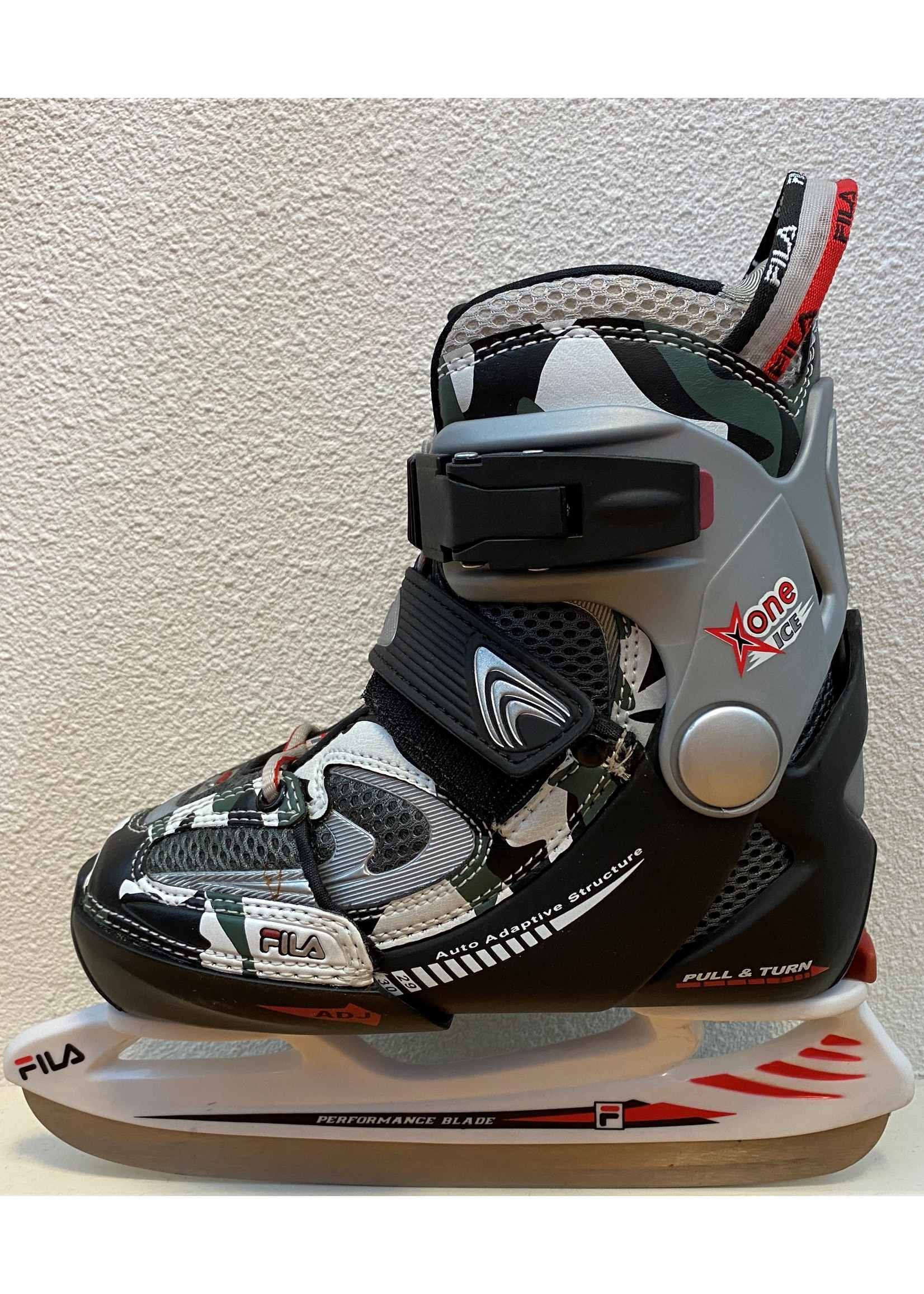 Fila Fila  X-One Comp G Ice Army Green IJshockey schaats, grijs met wit en blauw