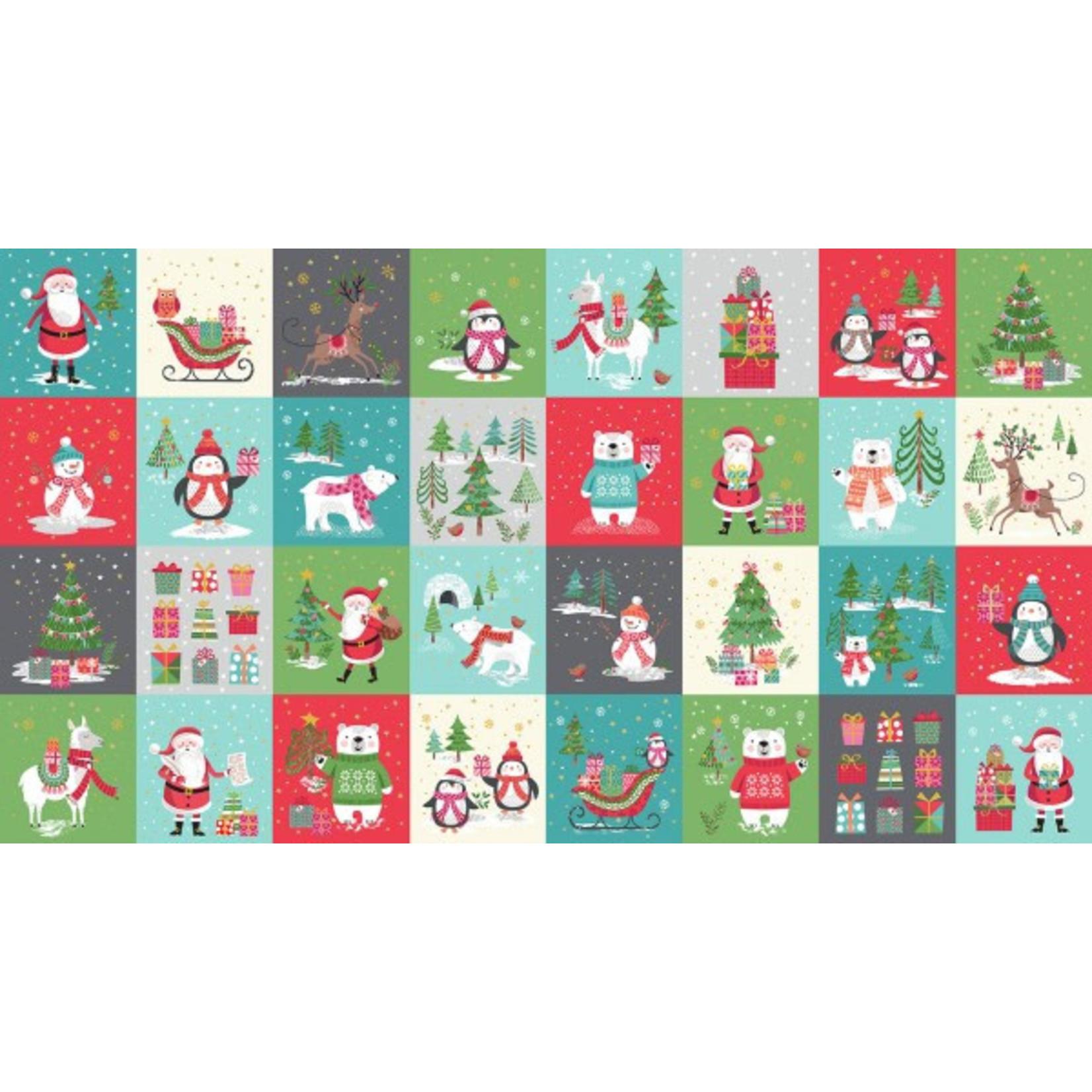 Makower uk Christmas 21 Yappy! - Blocks - Aqua - Panel