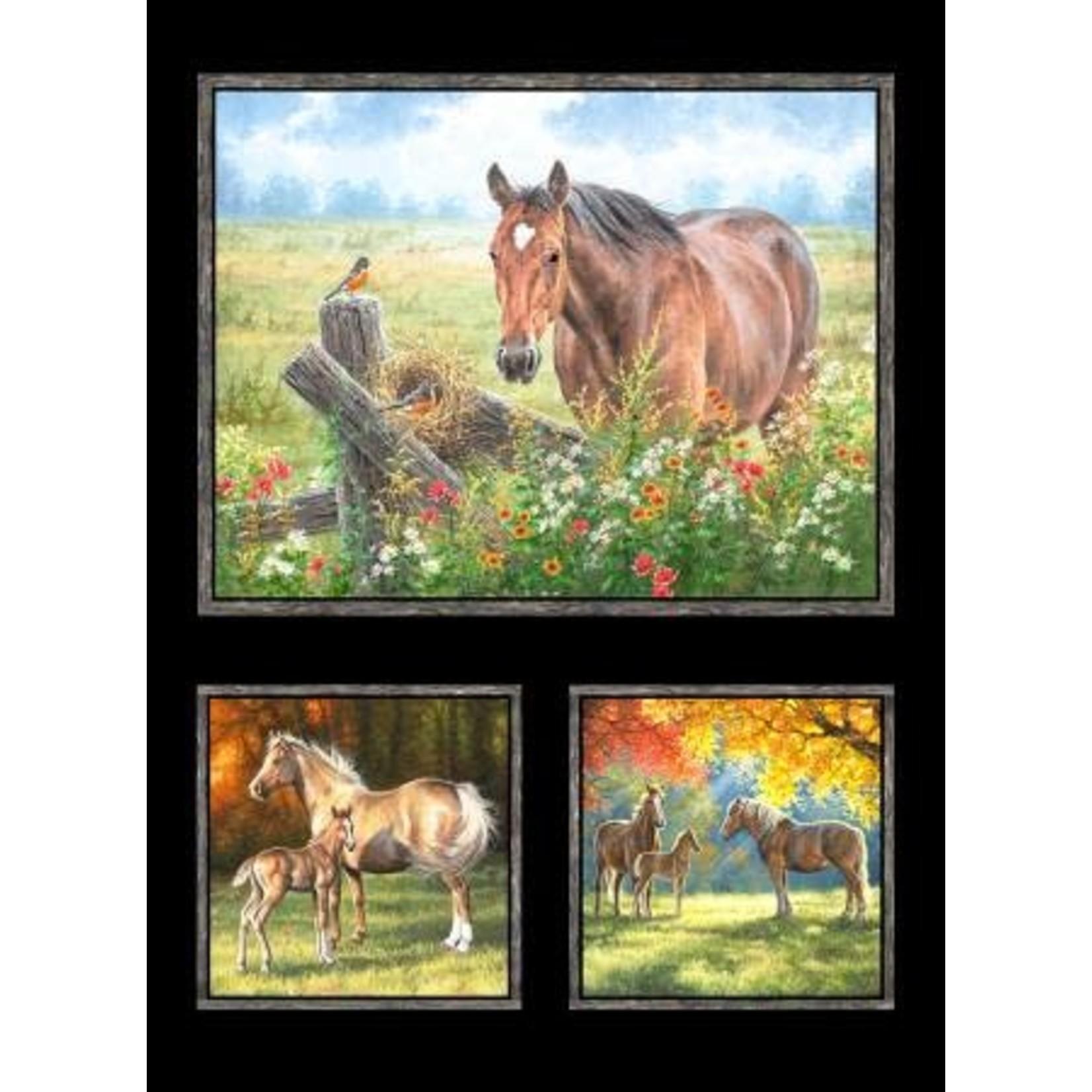 P&B Textiles Horse - Black - Panel