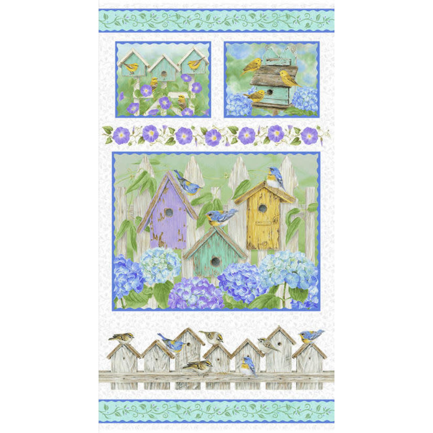 Henry Glass Fabrics Hydrangea Birdsong - Panel