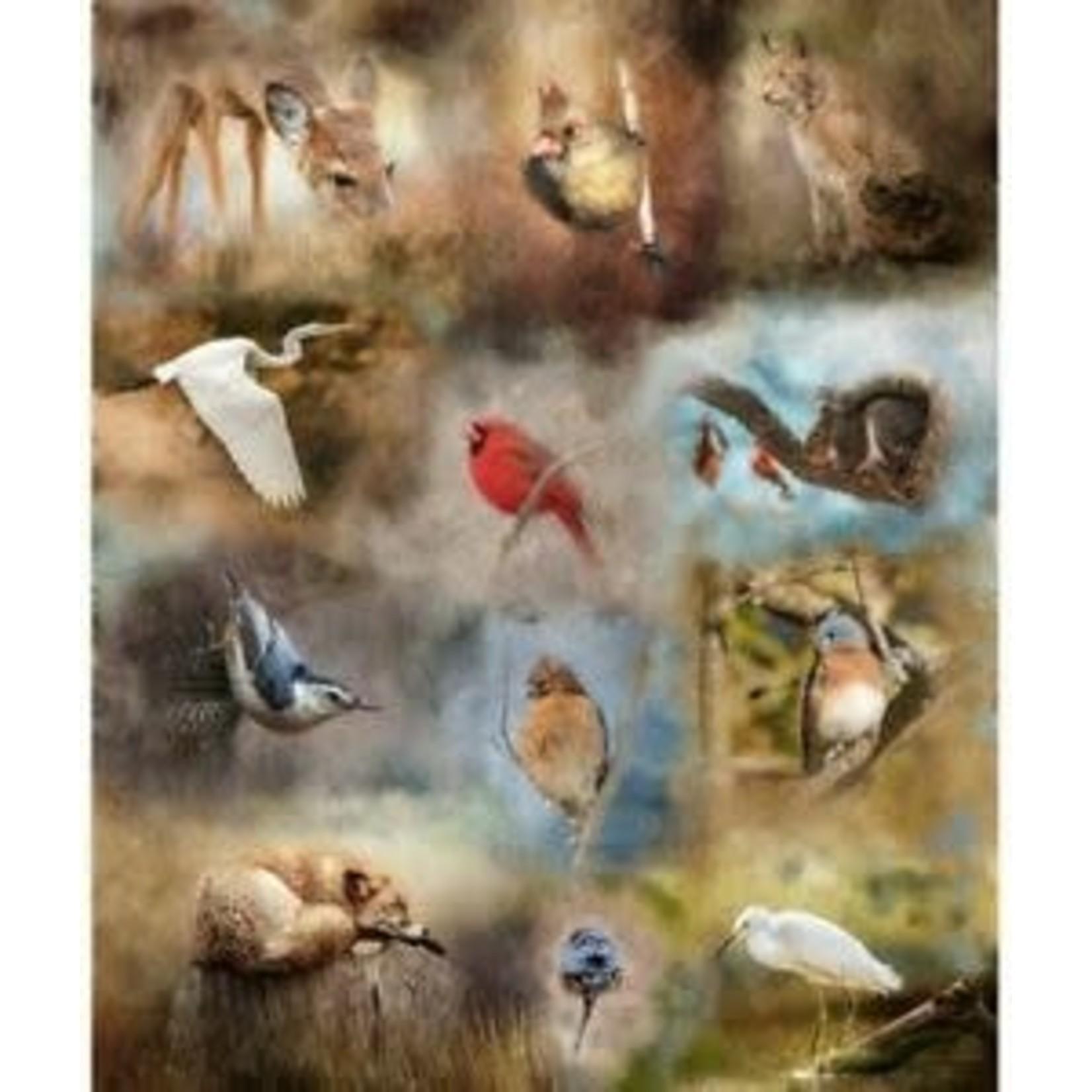 Hoffman Fabrics Nestled in Nature - Fauna - Panel