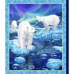 QT Fabrics Northern Lights - Polar Bear - Panel