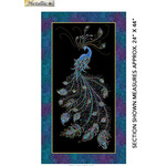Benartex Studio Peacock Flourish - Black - Panel