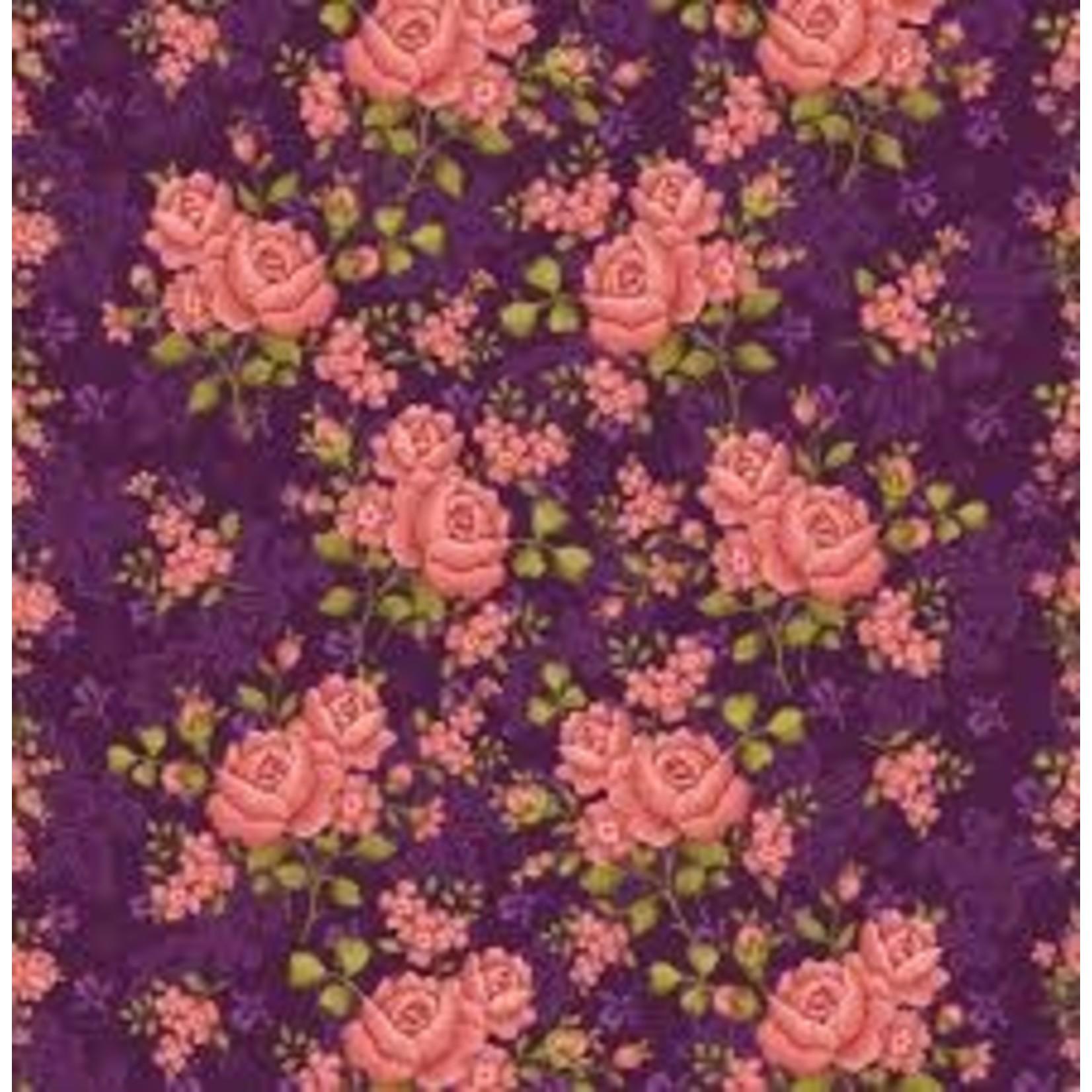 Benartex Studio Homestead Carriage - Climbing Rose - Purple