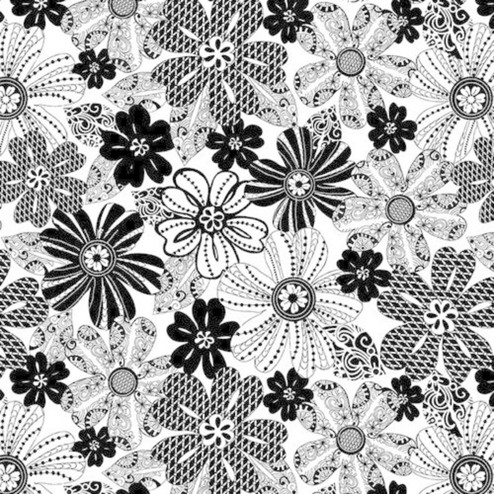 Blank Quilting Black Tie - Mod Flower