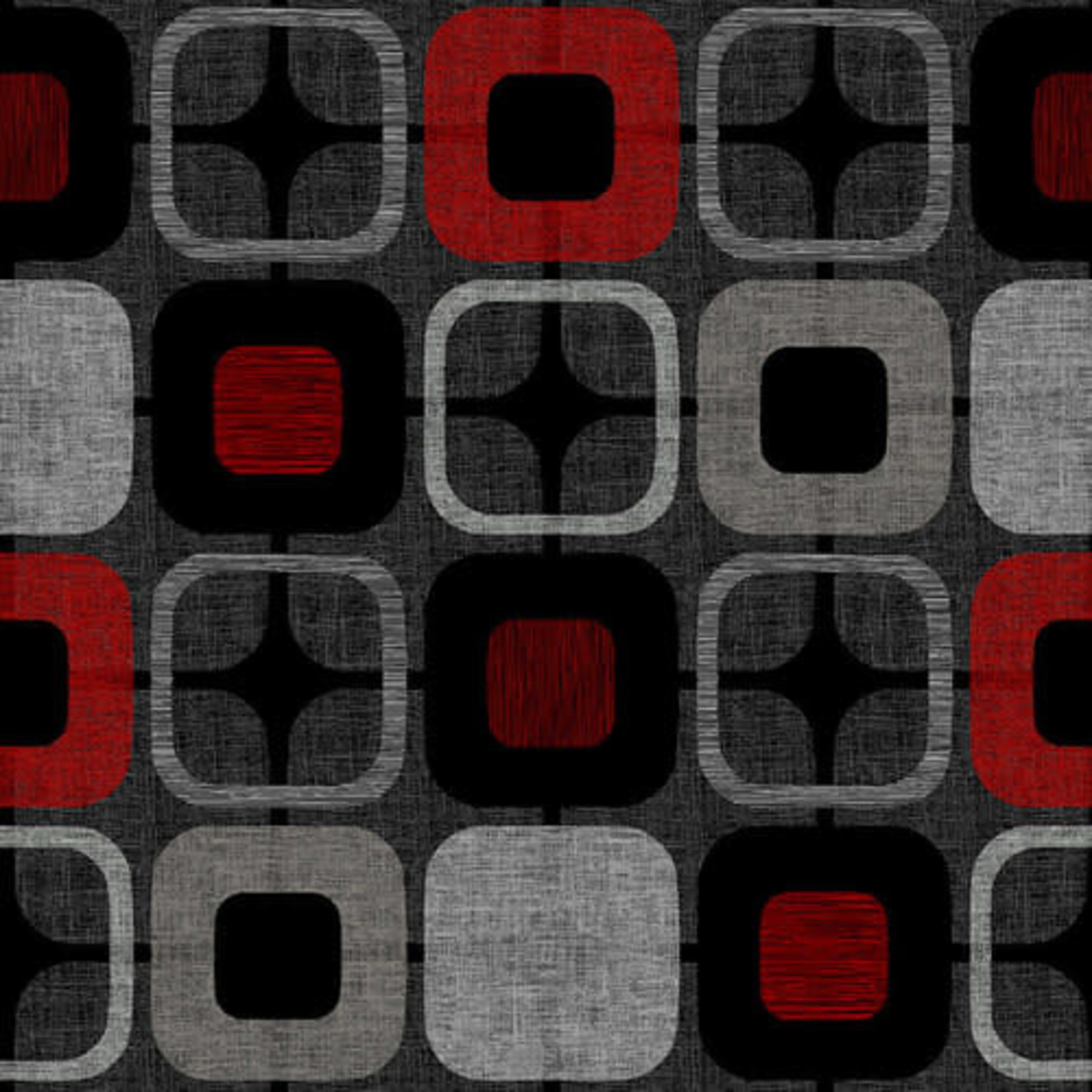 Blank Quilting Geo Square - Black/Red