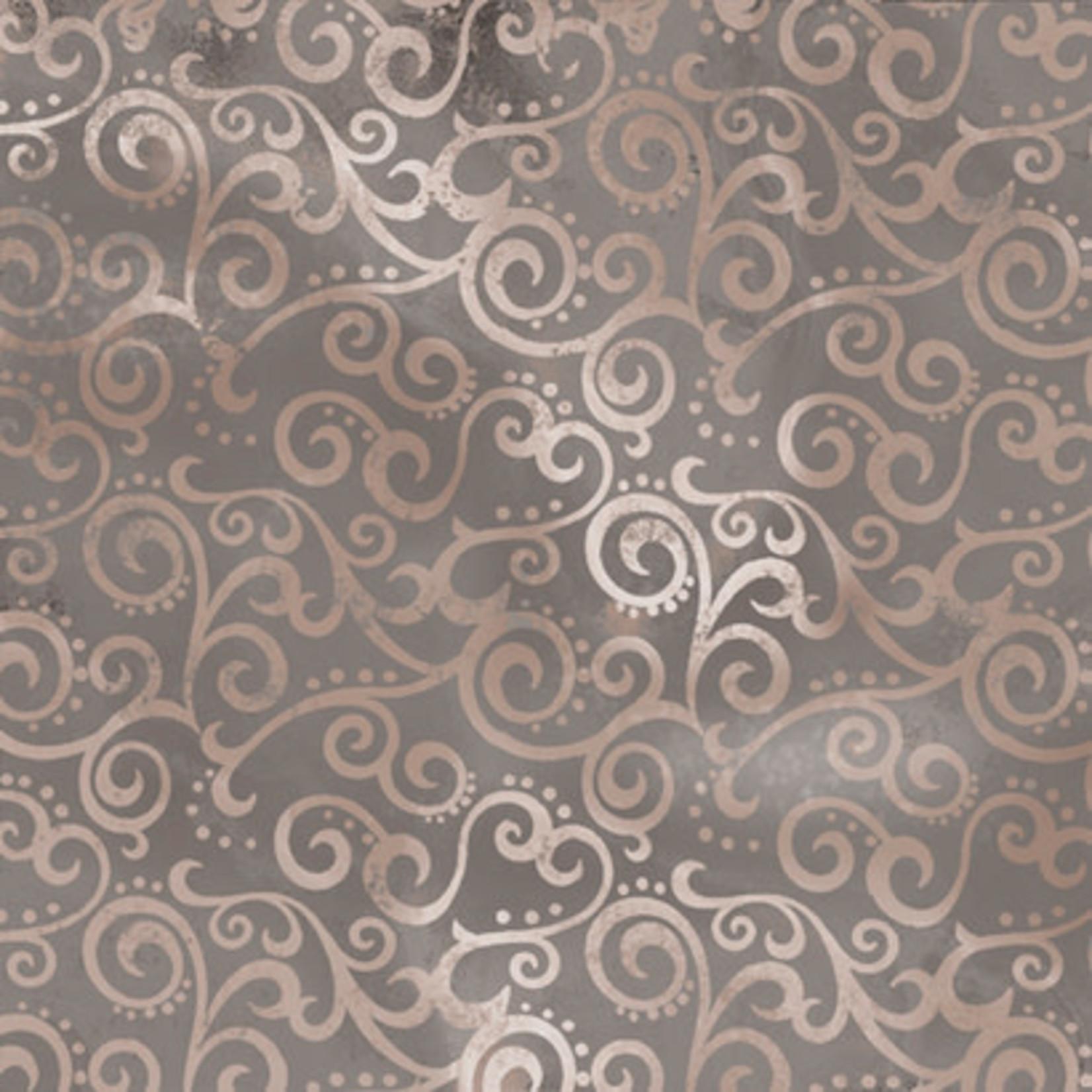 QT Fabrics Ombre Scroll - Stone