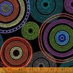 Windham Fabrics Circles - Black - Stof 275 cm breed ook met 20% korting.