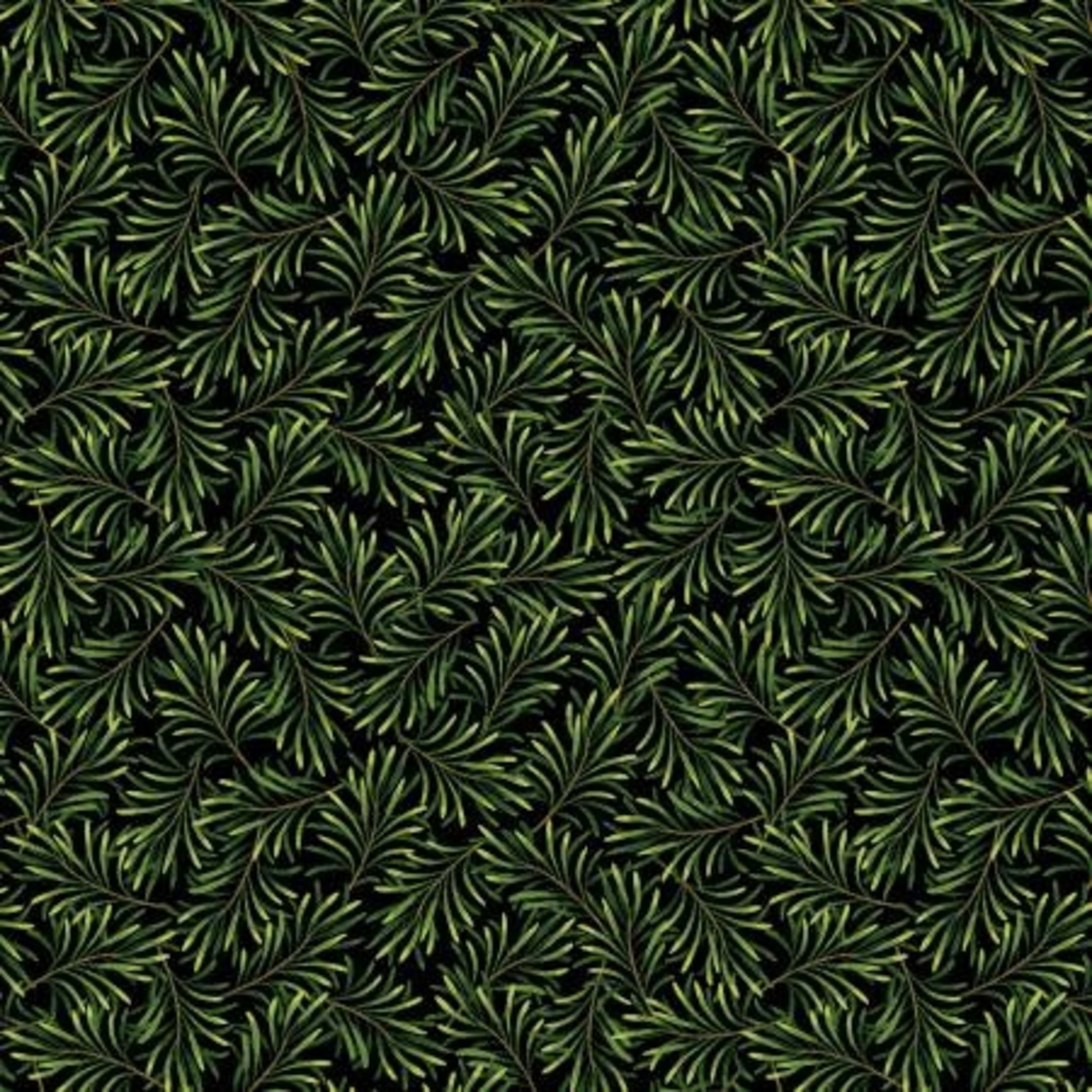 Benartex Studio Boughs of Beauty - Black/Green