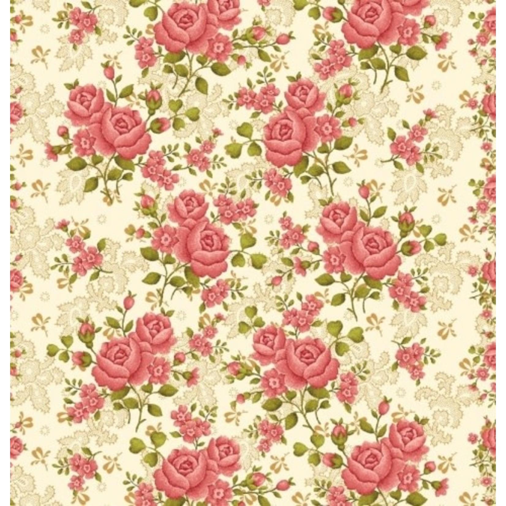 Benartex Studio Homestead Carriage - Climbing Rose - Ivory/Pink