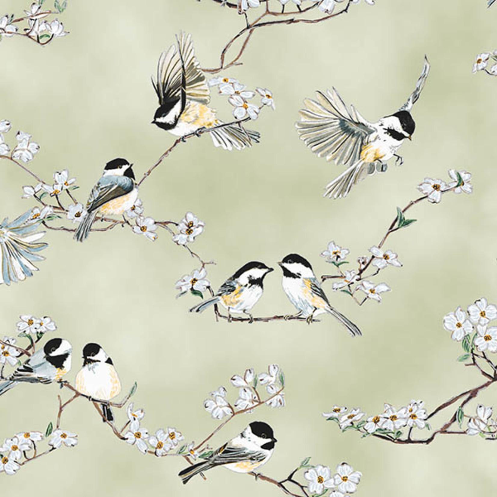 Hoffman Fabrics A little Birdie Told Me - Vogels en Bloesem - Beige