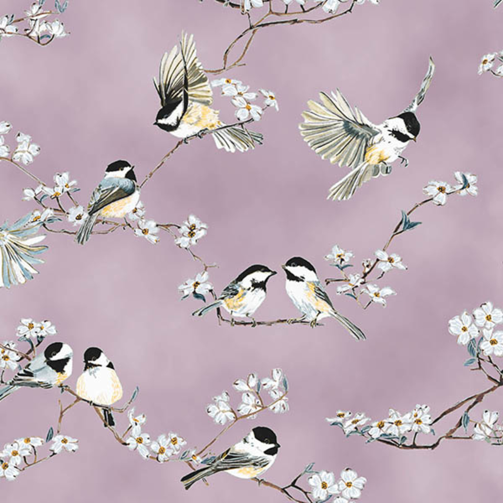 Hoffman Fabrics A little Birdie Told Me - Vogels en Bloesem - Lavendel