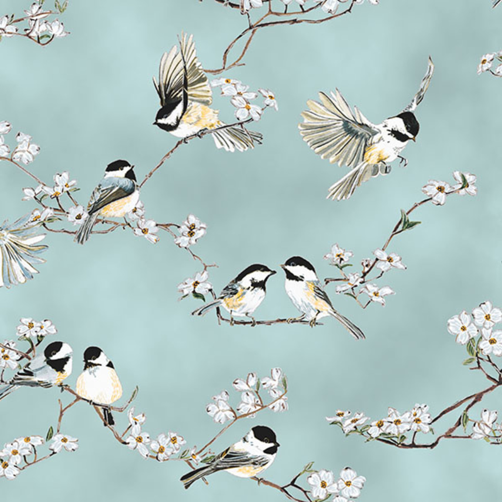 Hoffman Fabrics A little Birdie Told Me - Vogels en Bloesem - Licht Blauw