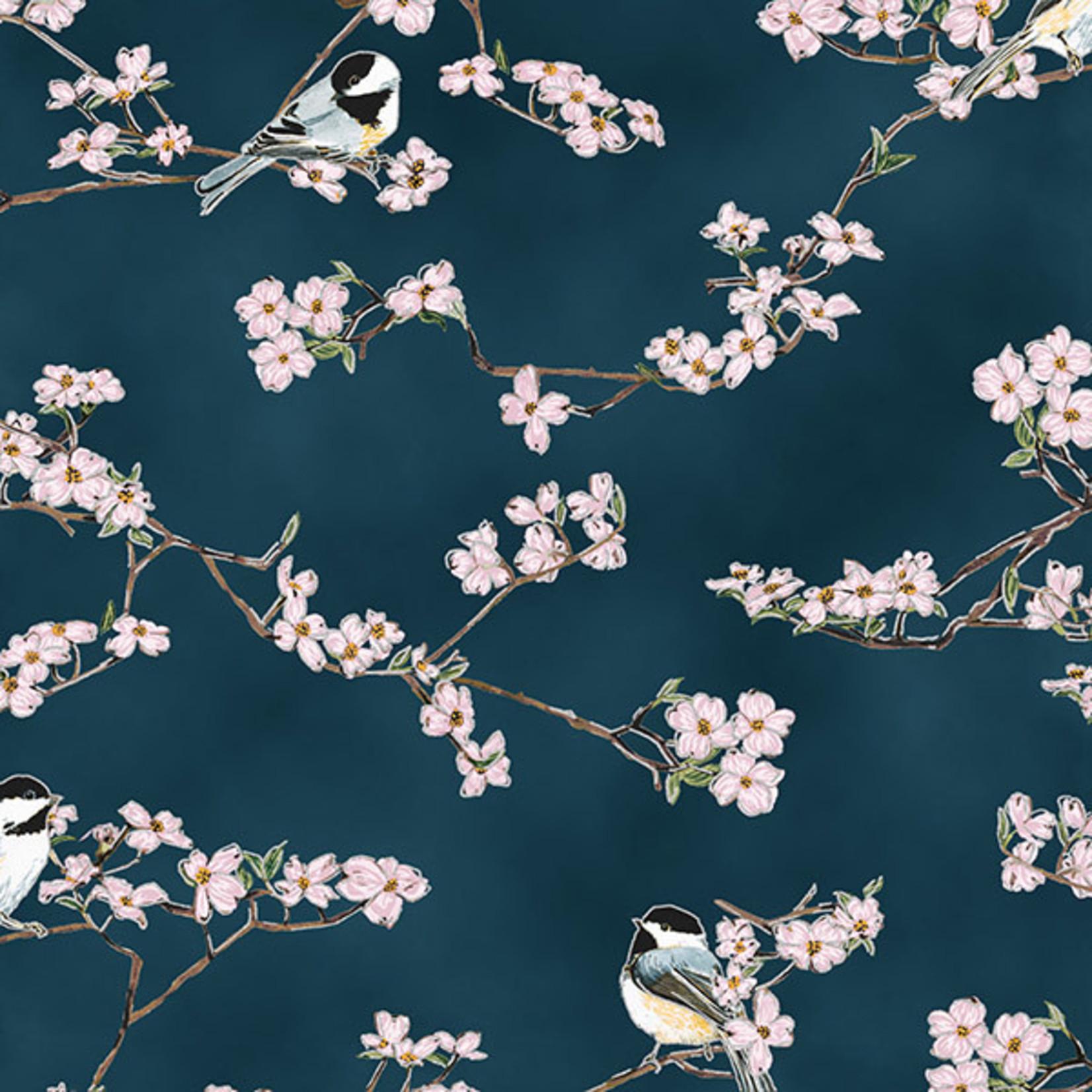 Hoffman Fabrics A little Birdie Told Me - Vogels en Bloesem - Marine Blauw