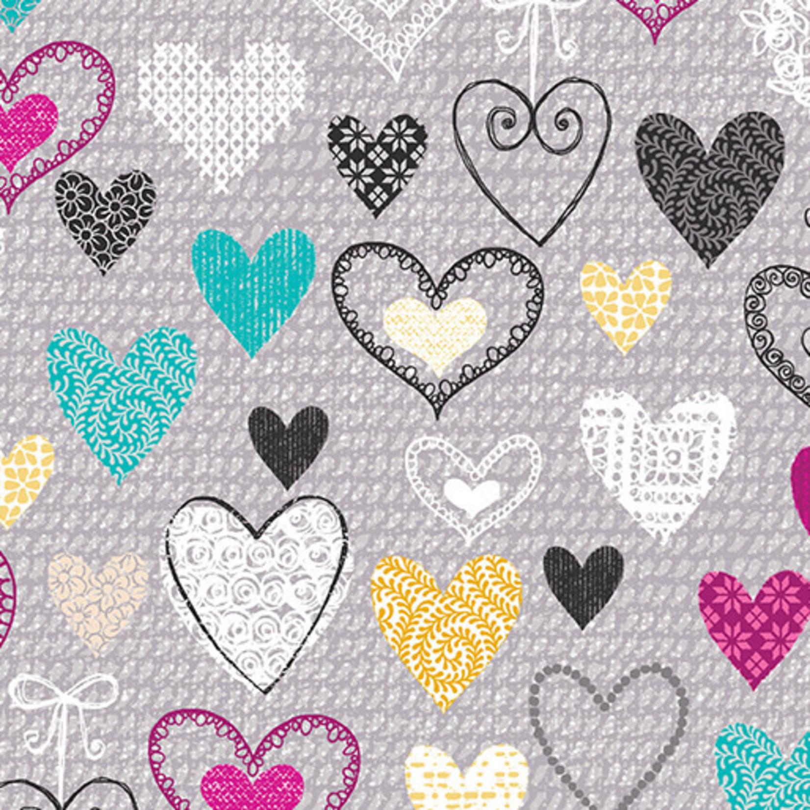 Kanvas Studio Knit Together - Hearts - Grey
