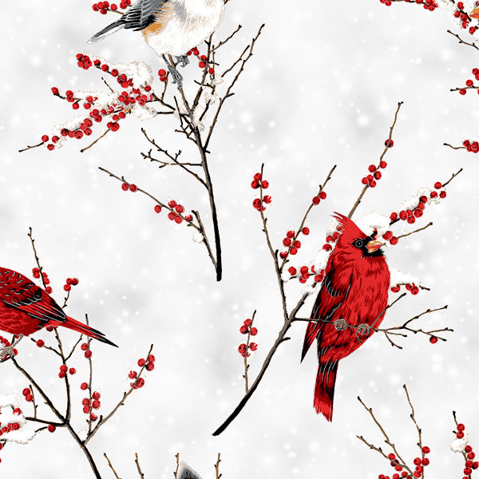 Hoffman Fabrics A Winter's Sky - Cardinals - White