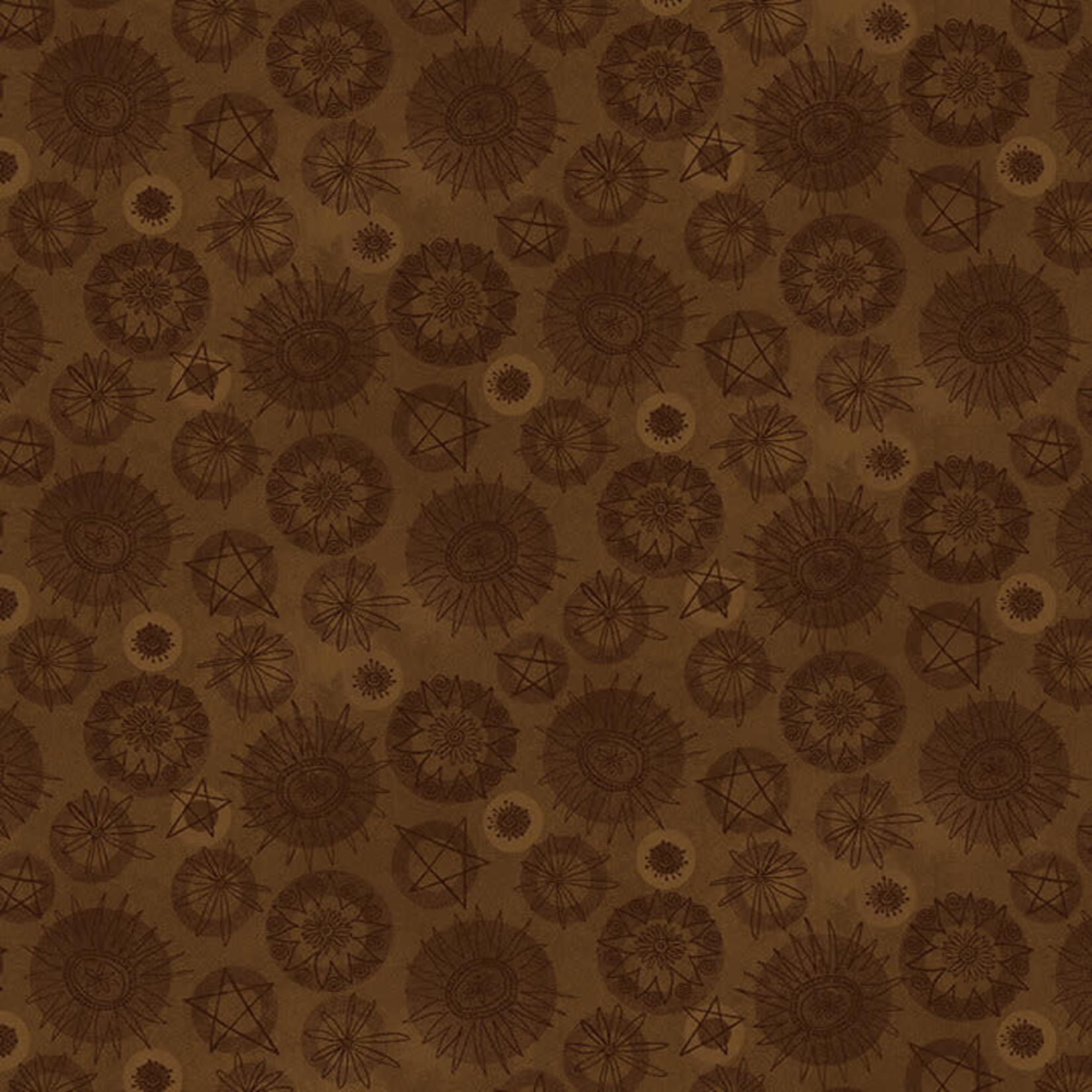 Henry Glass Fabrics Best Of Days - Tonal Flower - Brown