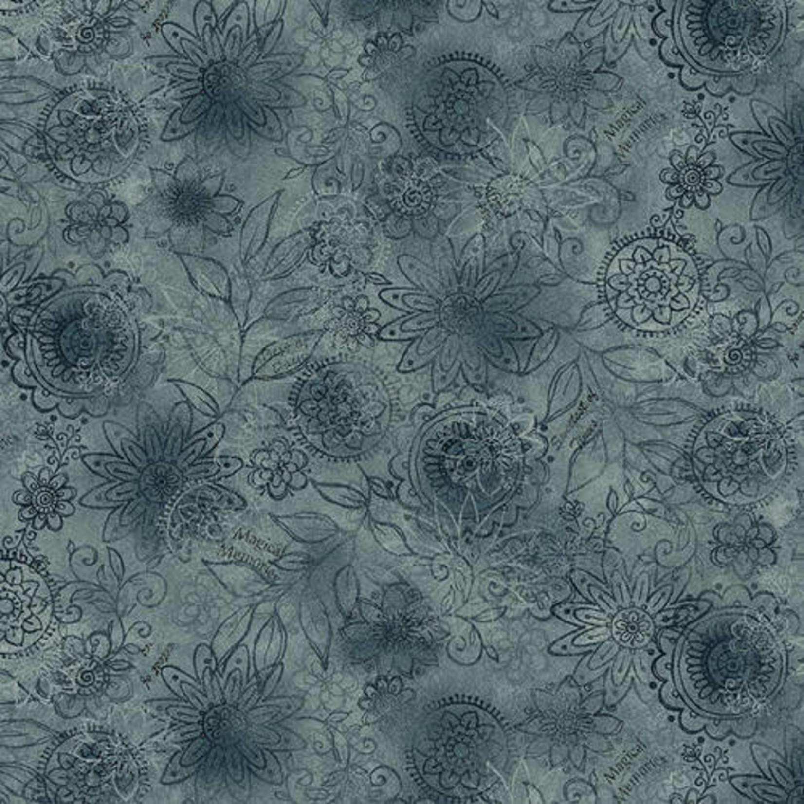 Henry Glass Fabrics Best Of Days - Wall Flower - Blue