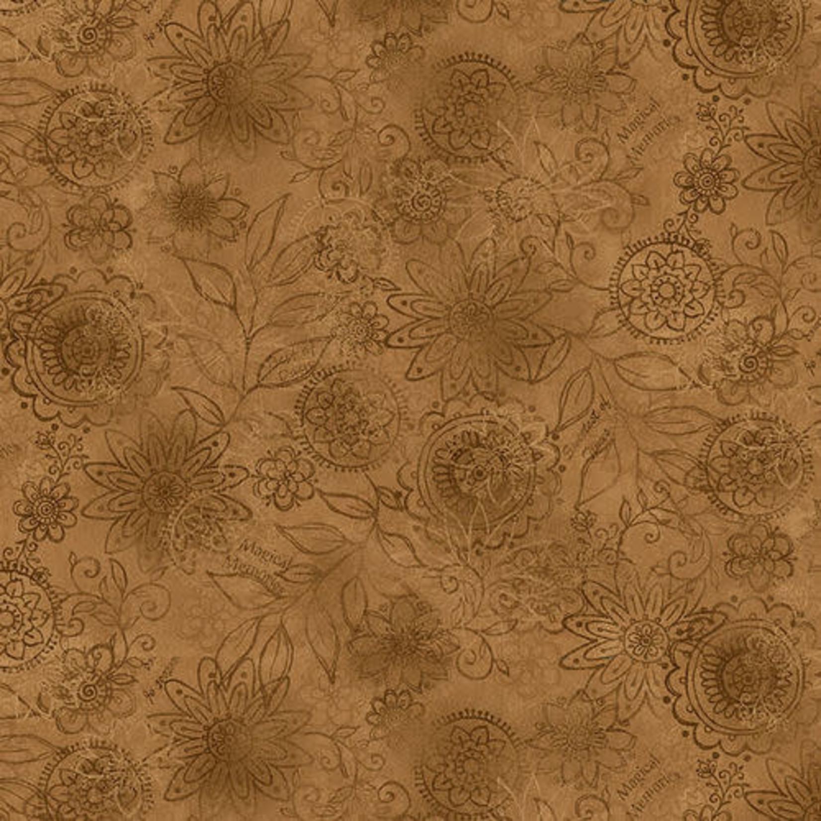 Henry Glass Fabrics Best Of Days - Wall Flower - Gold
