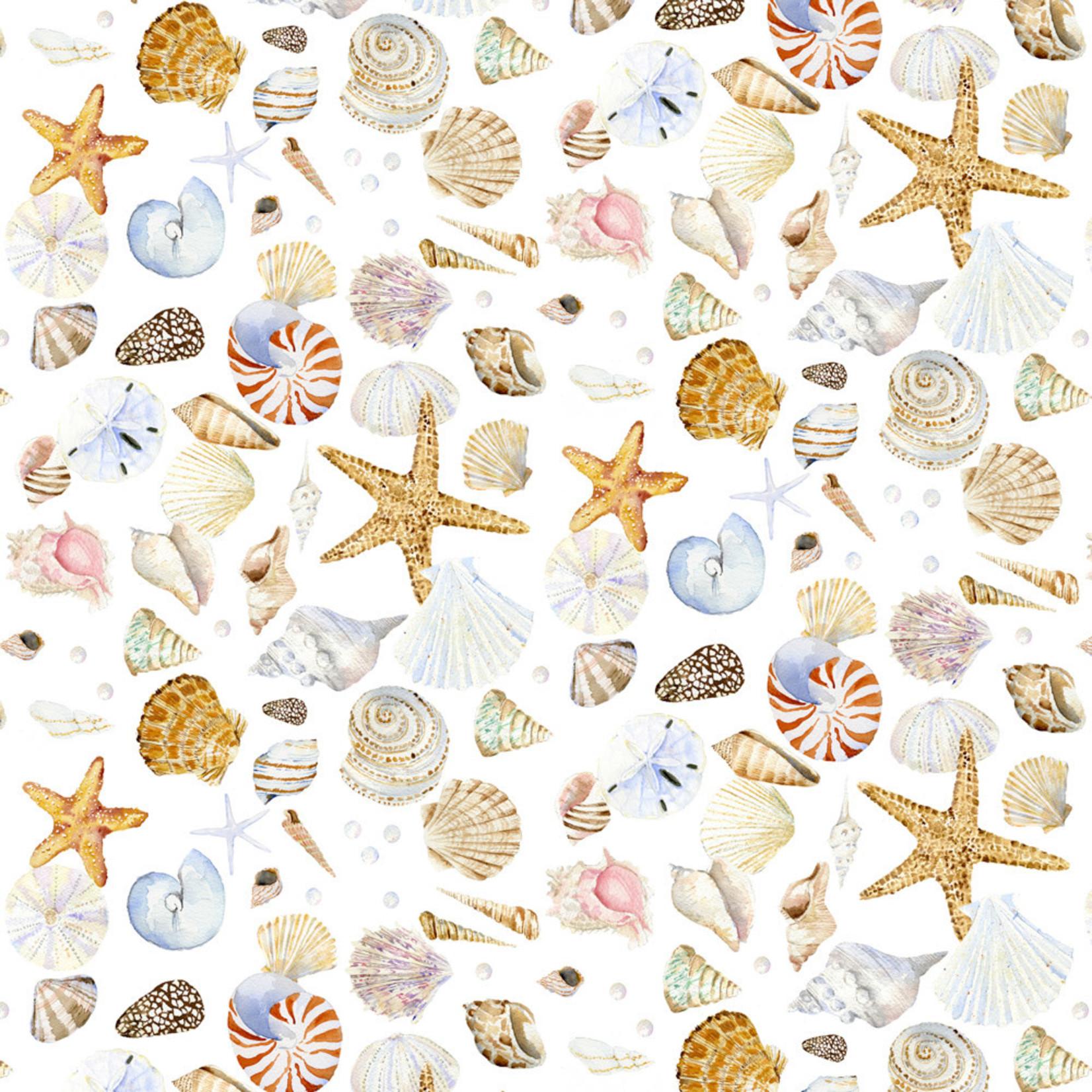 Henry Glass Fabrics Coastal Paradise - Schelpen op Wit