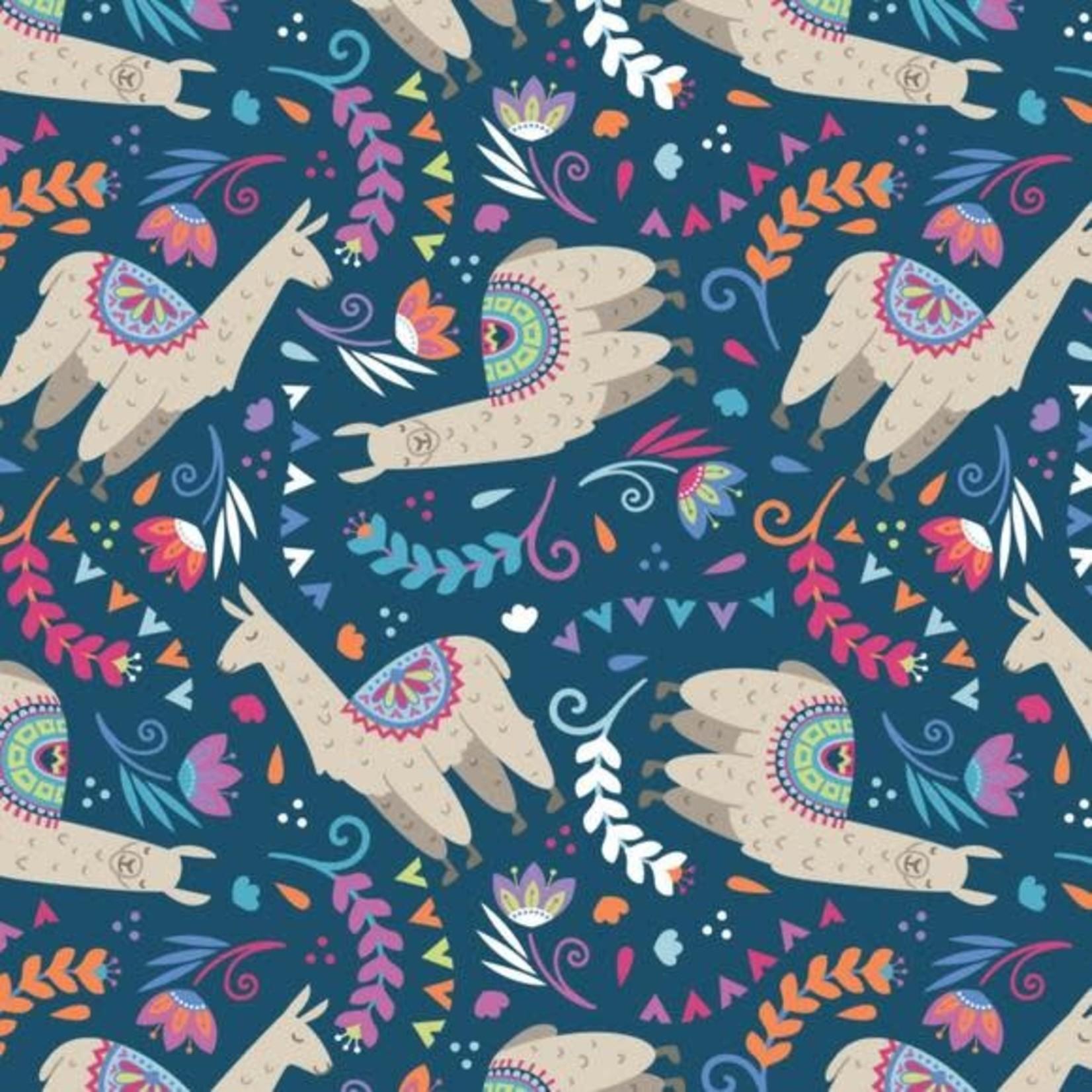 Camelot Fabrics Lama Drama - Blauw