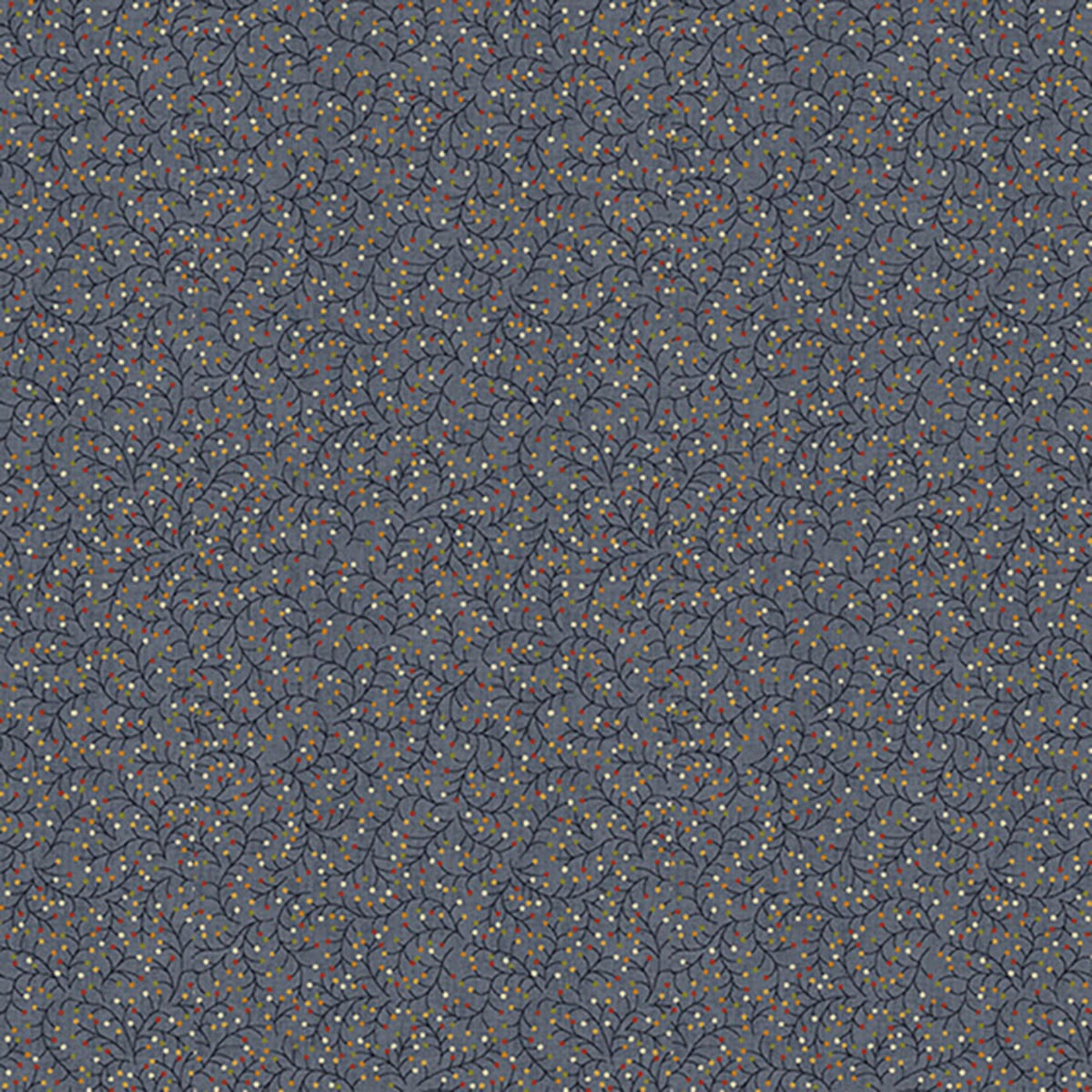 Blank Quilting Barn Dance - Twig With Dots - Blue