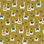 Cloud 9 Fabrics Far Away Places - Llama Llife - Mustard