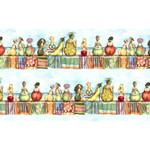Elizabeth's Studio Fruit Ladies - Stripe - Blue