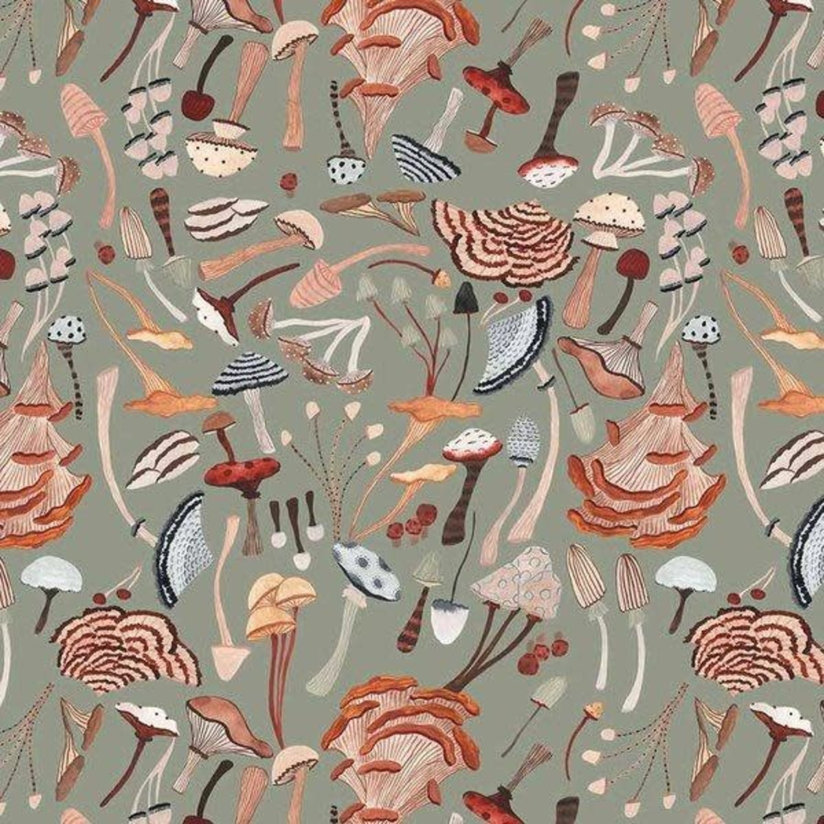 Figo Fabrics After The Rain - Mushrooms Green