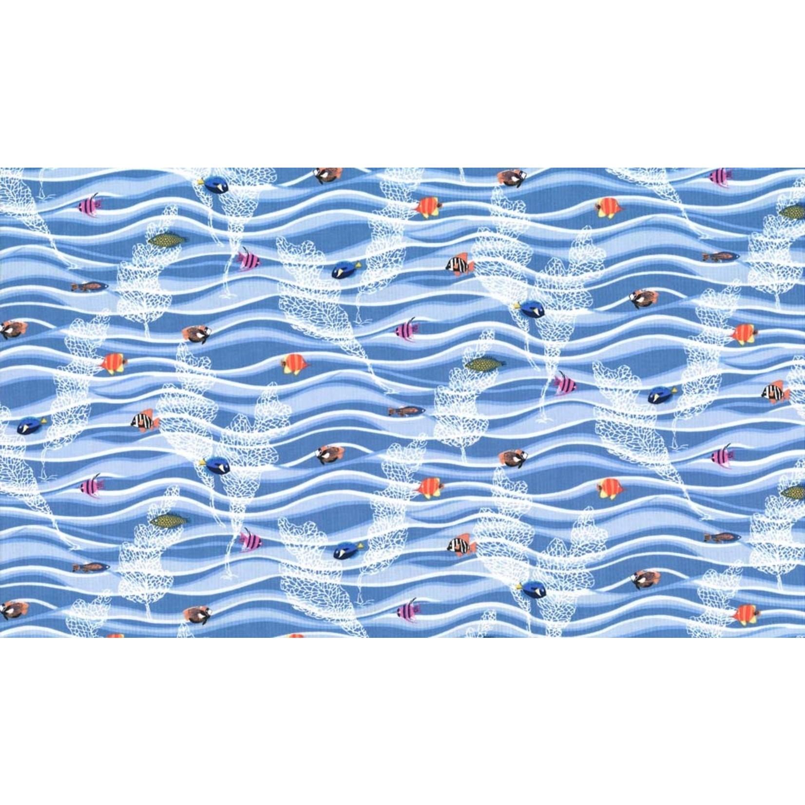 Michael Miller Fishtopia - Waves - Blue