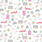 Michael Miller Travel Daze - Let's Go Places - Pink