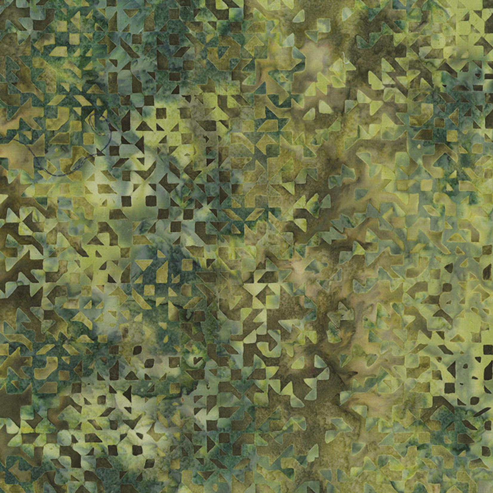 Hoffman Fabrics Bali Batik Triangles & Squares 2187- 202 Grasshopper