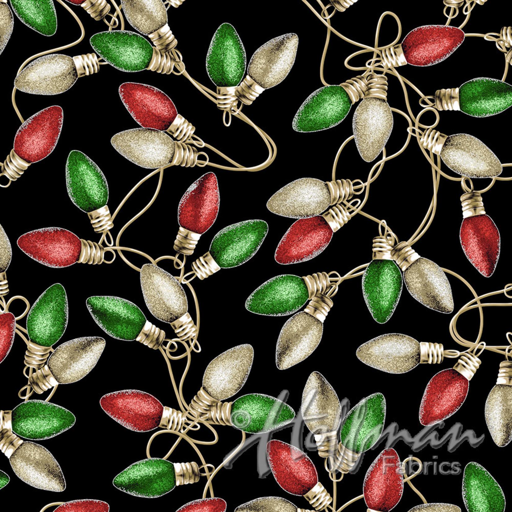 Hoffman Fabrics Cardinal Carols - Lights - Green on Black