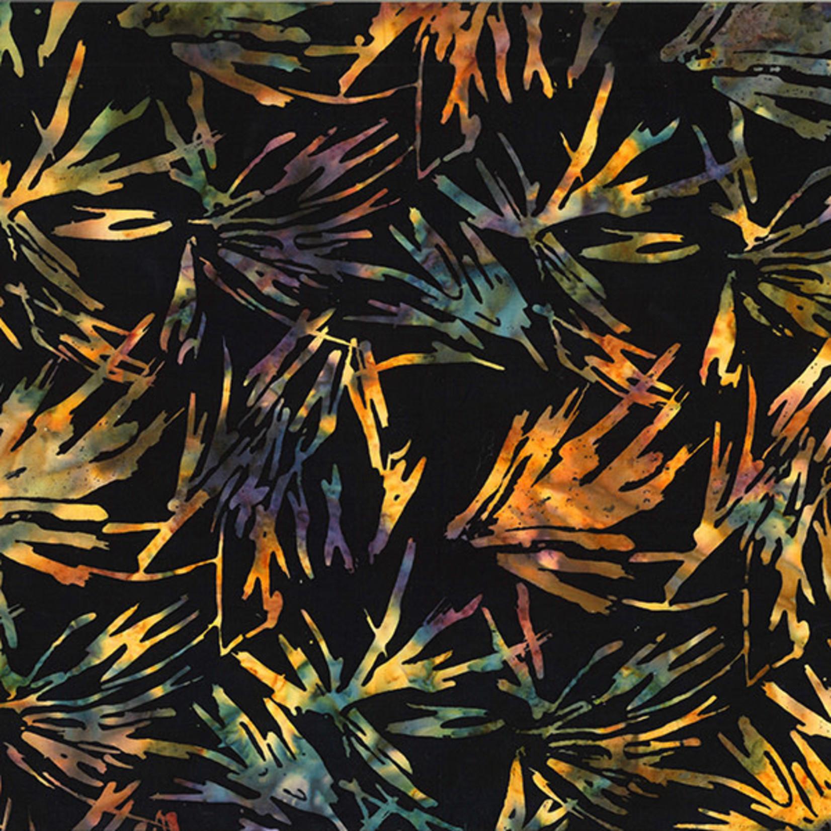 Hoffman Fabrics Bali Batik Abstract Leaves - Black Autumn