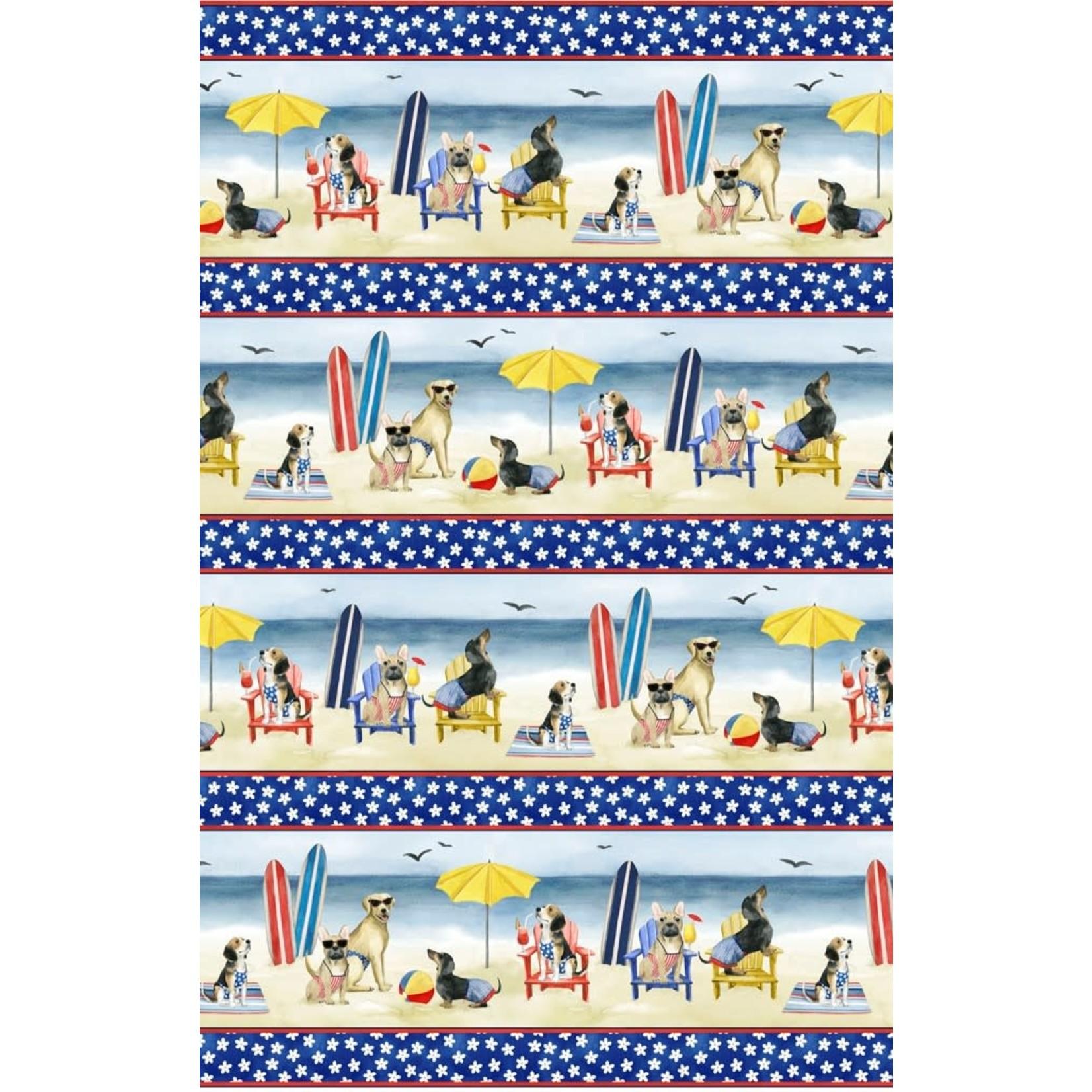 P&B Textiles Hot Dog - Honden op Strand - Blue