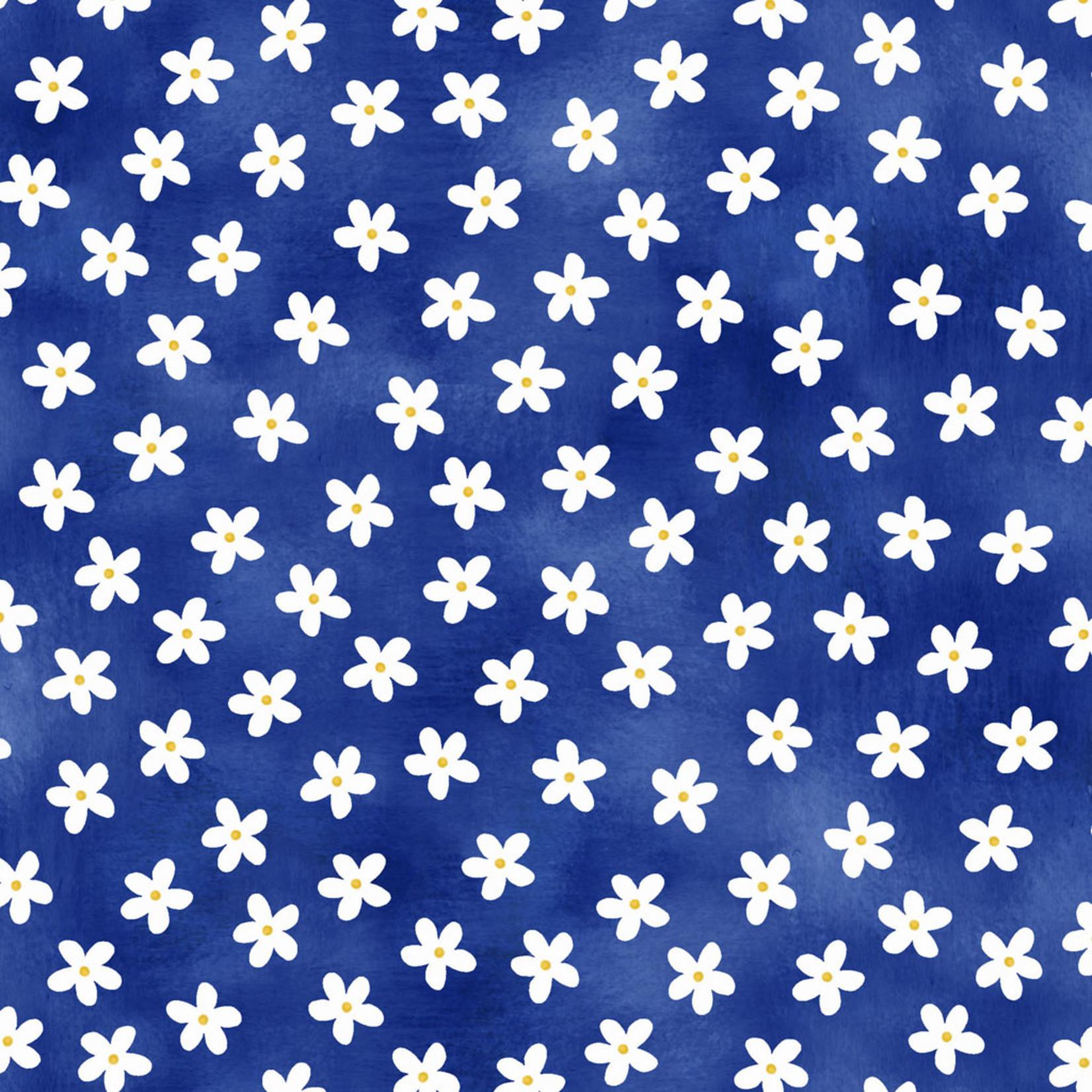 P&B Textiles Hot Dog - Witte Bloemen - Blue