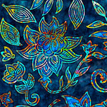 QT Fabrics Kashmir - Flower - Blue