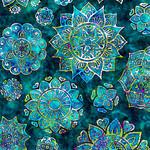 QT Fabrics Kashmir - Mandala - Blue