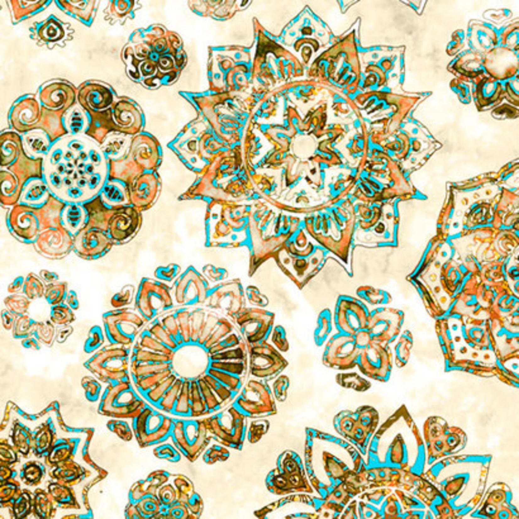 QT Fabrics Kashmir - Mandala - Cream