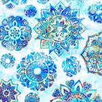 QT Fabrics Kashmir - Mandala - White