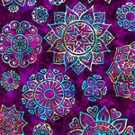 QT Fabrics Kashmir - Mandala - Purple
