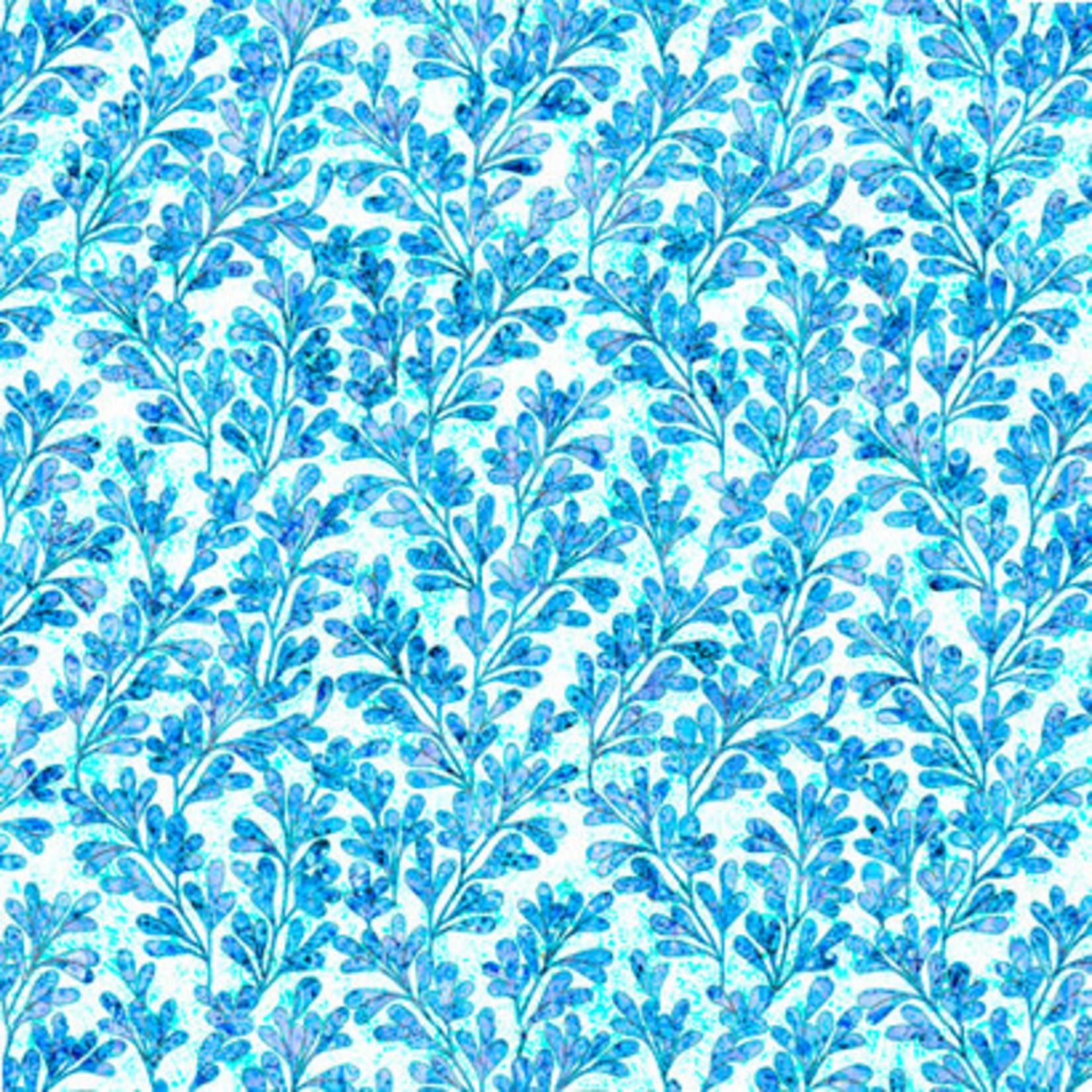 QT Fabrics Kashmir - Vines - Blue