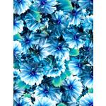 QT Fabrics Kenzie - Abstract Blooms - Indigo