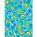 QT Fabrics Kenzie - Swirl - Turquoise