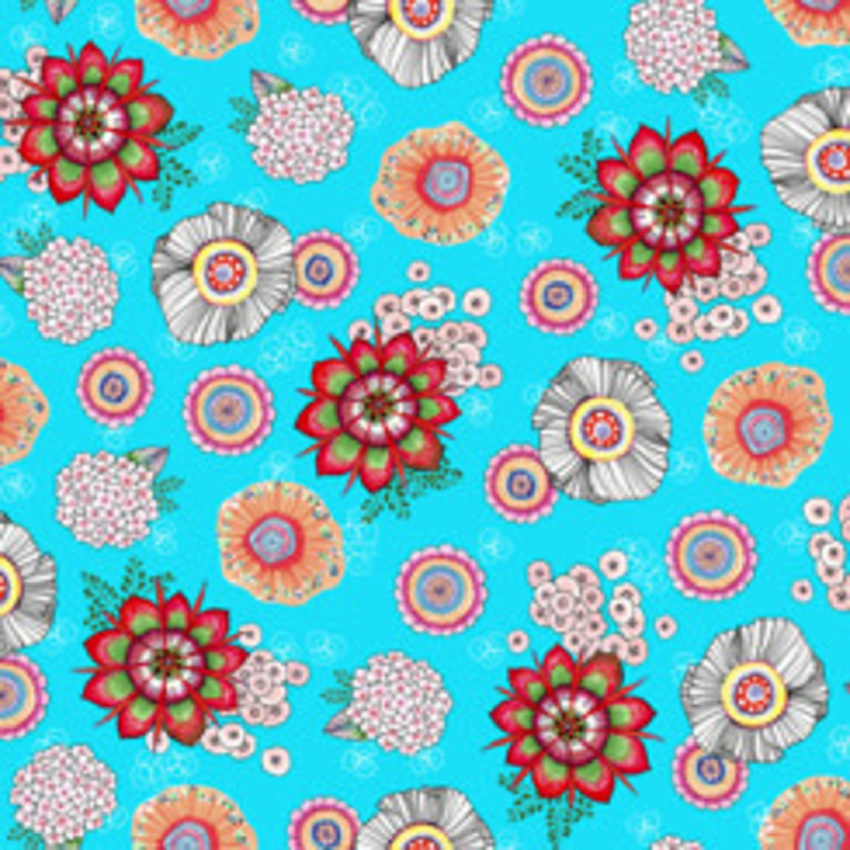 QT Fabrics Mika - Tossed Floral - Turquoise
