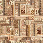 QT Fabrics Tailor Made - Numbers Patches - Brown