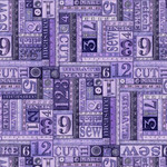 QT Fabrics Tailor Made - Numbers Patches - Purple